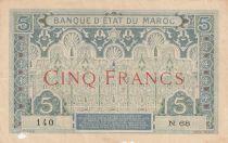 Maroc 5 Francs Ornements - 1921 - Série N.68 - TB - P.8