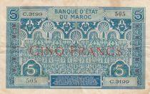 Maroc 5 Francs Ornements - 1924 - Série C.3199 - TTB - P.9