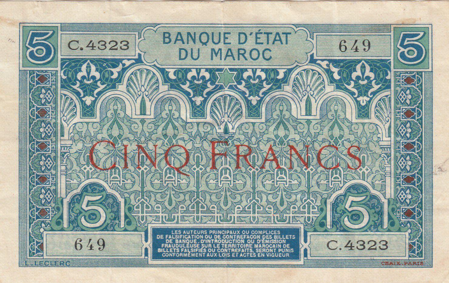 Maroc 5 Francs Ornements - 1924 - Série C.4323 - TTB - P.9