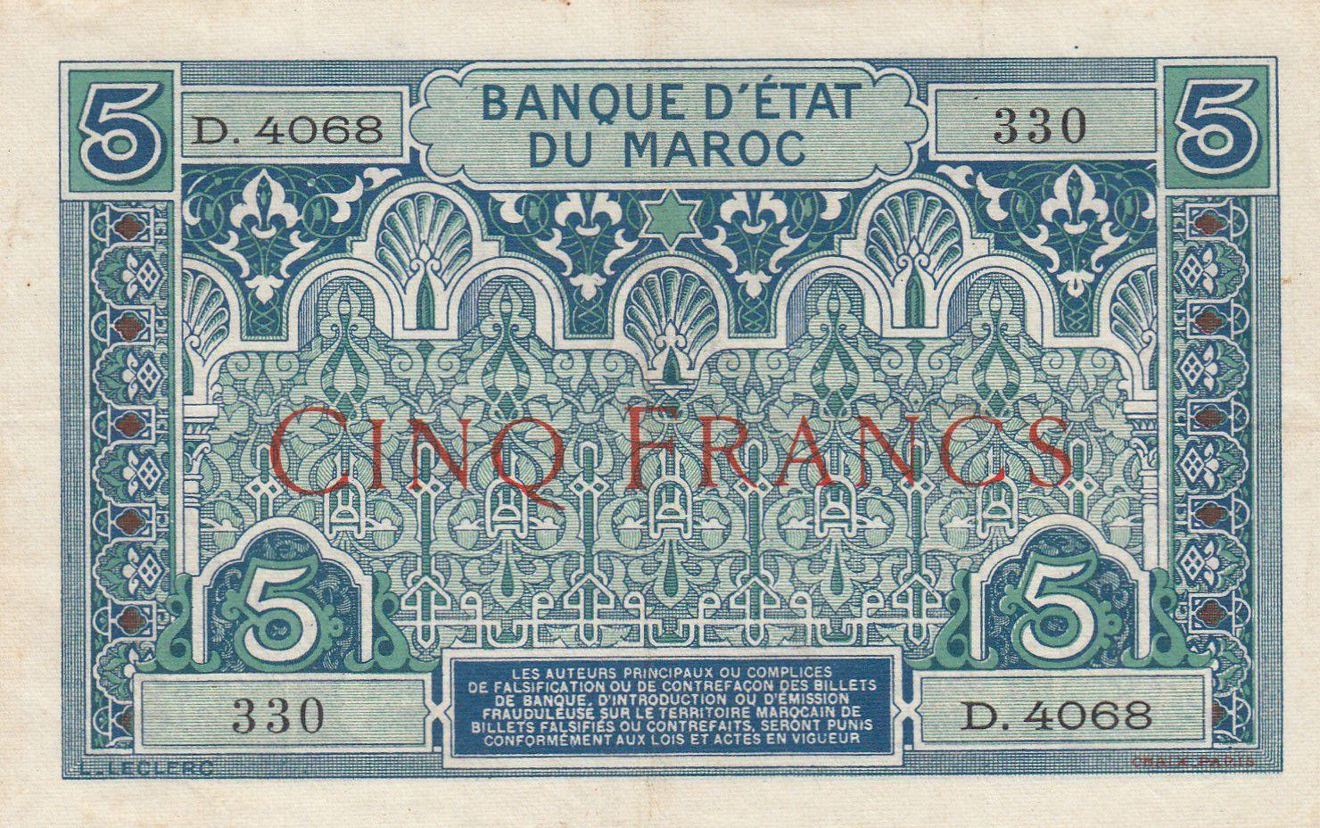 Maroc 5 Francs Ornements - 1924 - Série D.4068 - TTB + - P.9