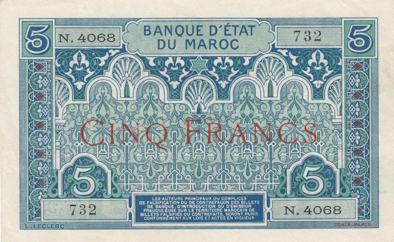 Maroc 5 Francs Ornements - 1924 - Série N.4068 - SUP - P.9