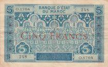 Maroc 5 Francs Ornements - 1924 - Série O.1764 - TTB - P.9