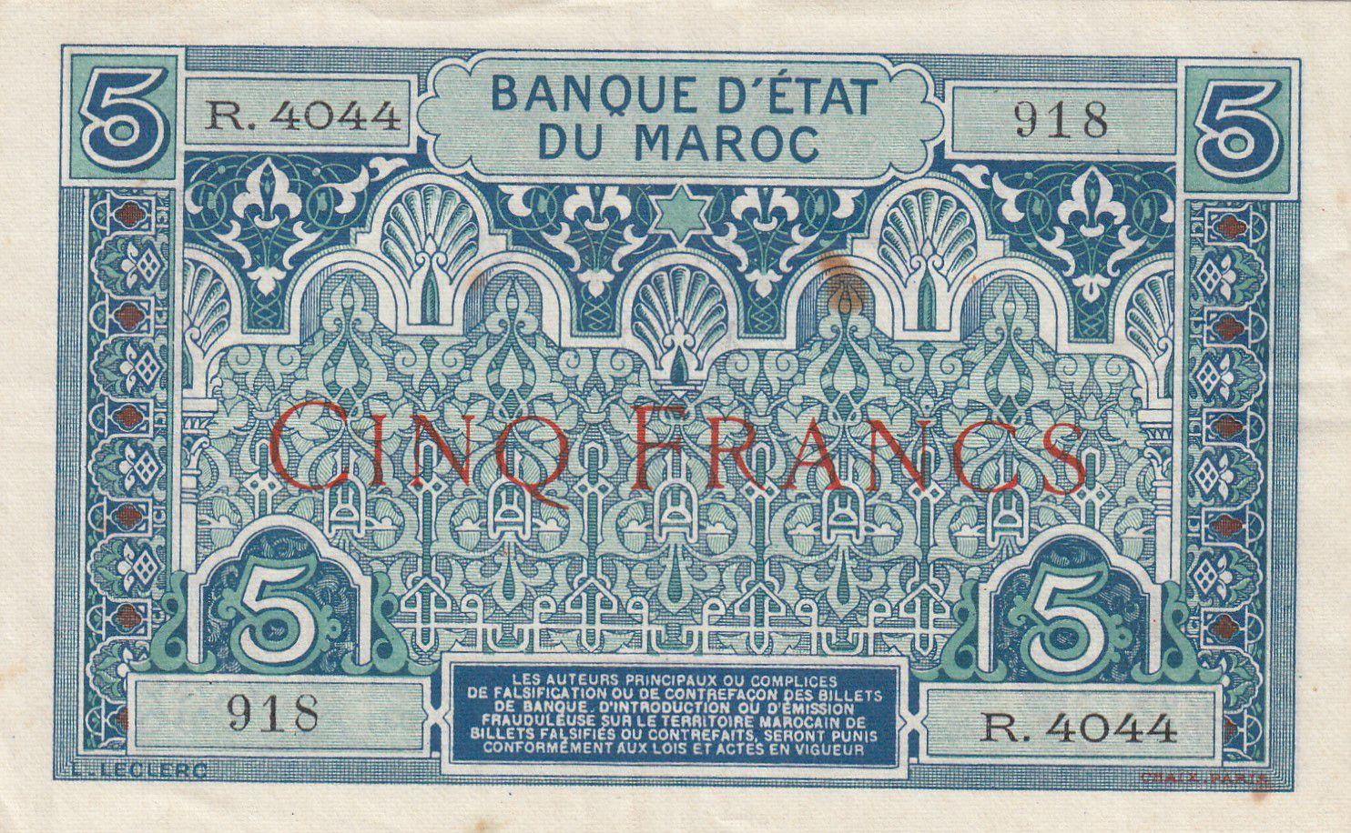 Maroc 5 Francs Ornements - 1924 - Série R.4044 - TTB + - P.9