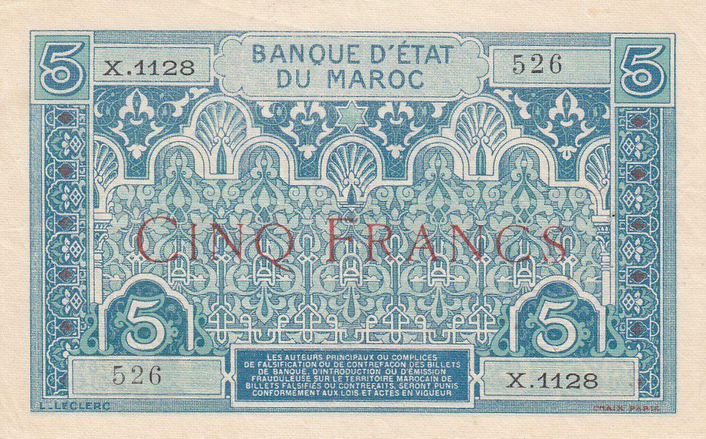 Maroc 5 Francs Ornements - 1924 - Série X.1128 - SUP - P.9