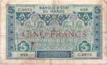 Maroc 5 Francs Ornements - 1924