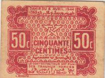 Maroc 50 Centimes, bon en carton 06.04.1944