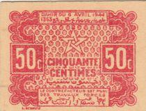 Maroc 50 Centimes 1944 Forteresse - 1944 - 2ème exemplaire