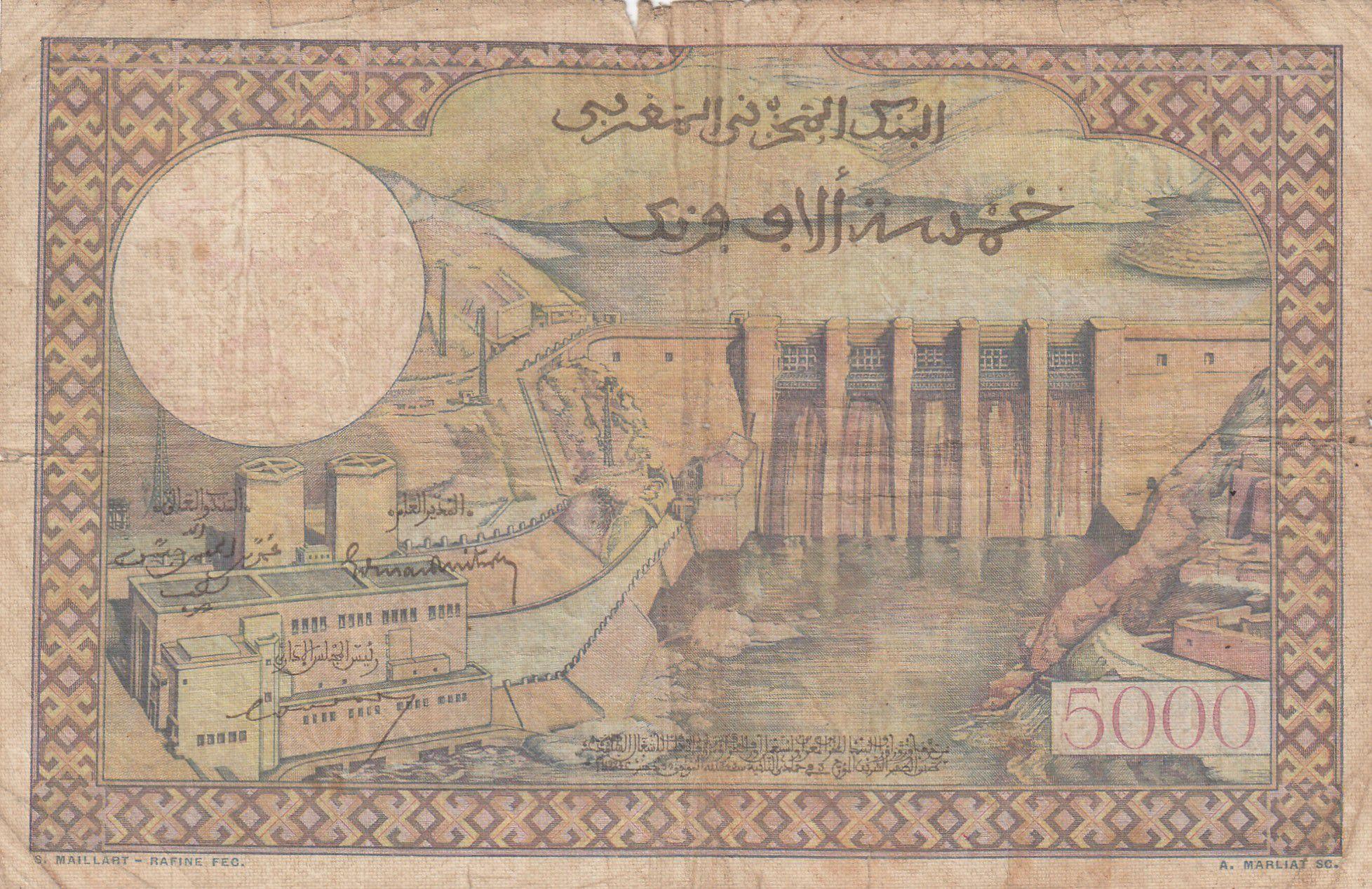 Maroc 50 Dirhams sur 5000 Francs surchargé  02-04-1953 - Série C.395 - p.TB - P.51