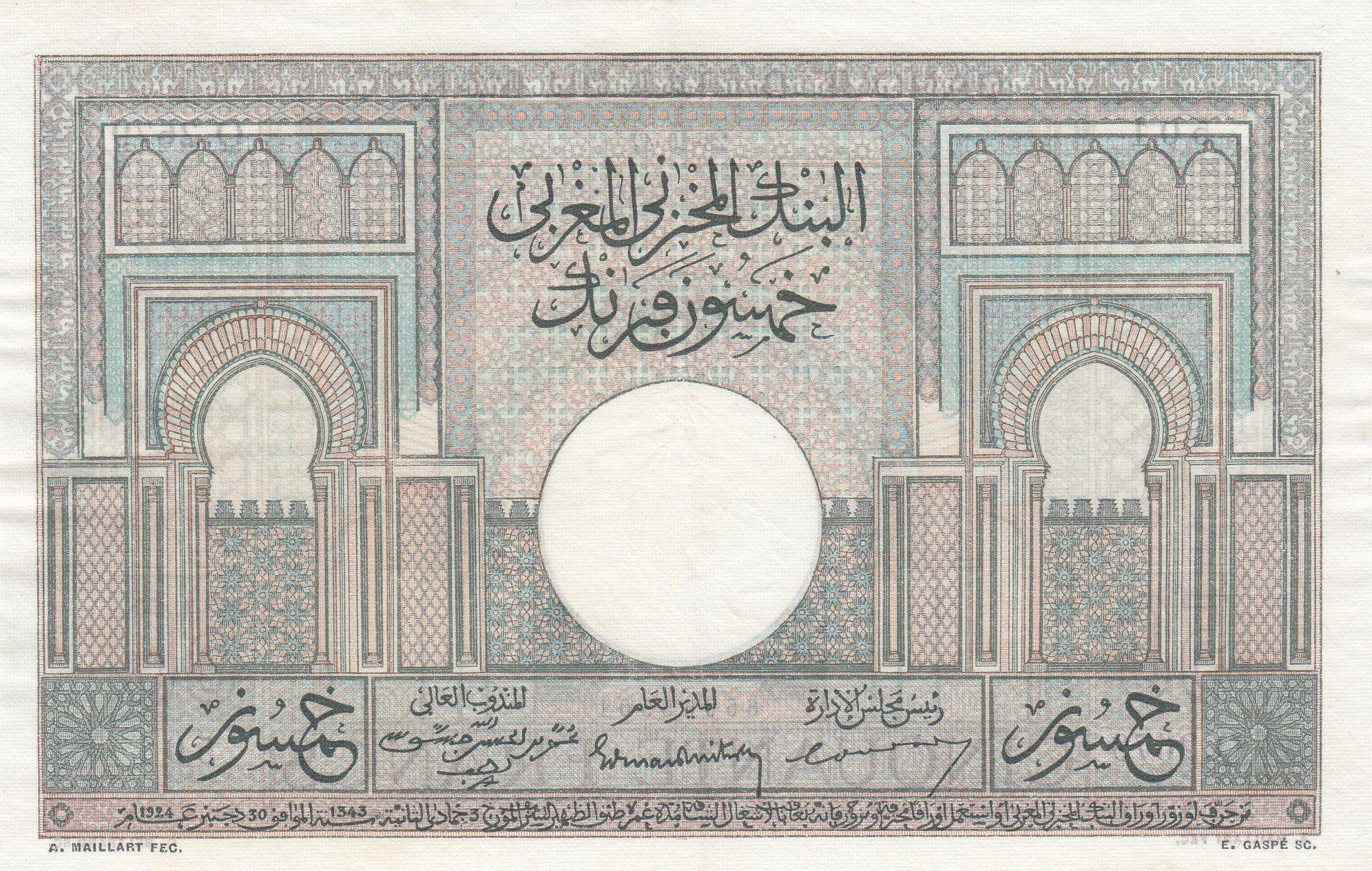 Maroc 50 Francs 28-10-1947 -  Grand Format - SUP  - Série Q.2679 - P.21
