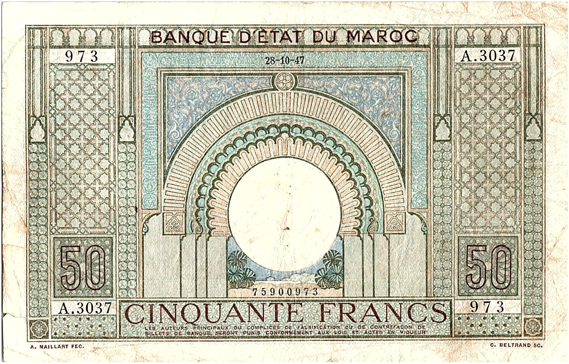 Maroc 50 Francs 28-10-1947   TB- Série A.3037 - P.21