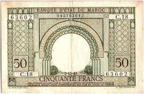 Maroc 50 Francs Porte, décor oriental - 02-12-1949 - TTB - Série C.18 - P.44