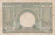 Maroc 50 Francs Porte, décor oriental - 02-12-1949 - TTB - Série G.13 - P.44