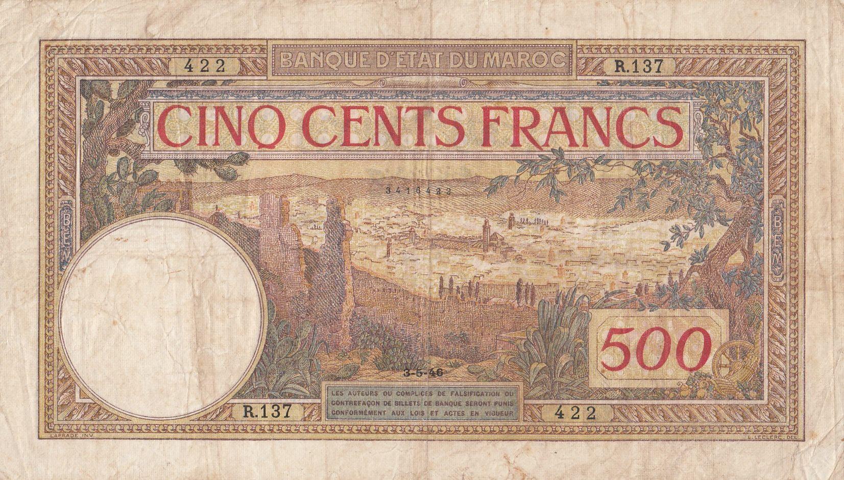 Maroc 500 Francs Vue sur la cité de Fez - 03-05-1946 - TB + - Série R.137 - P.15b