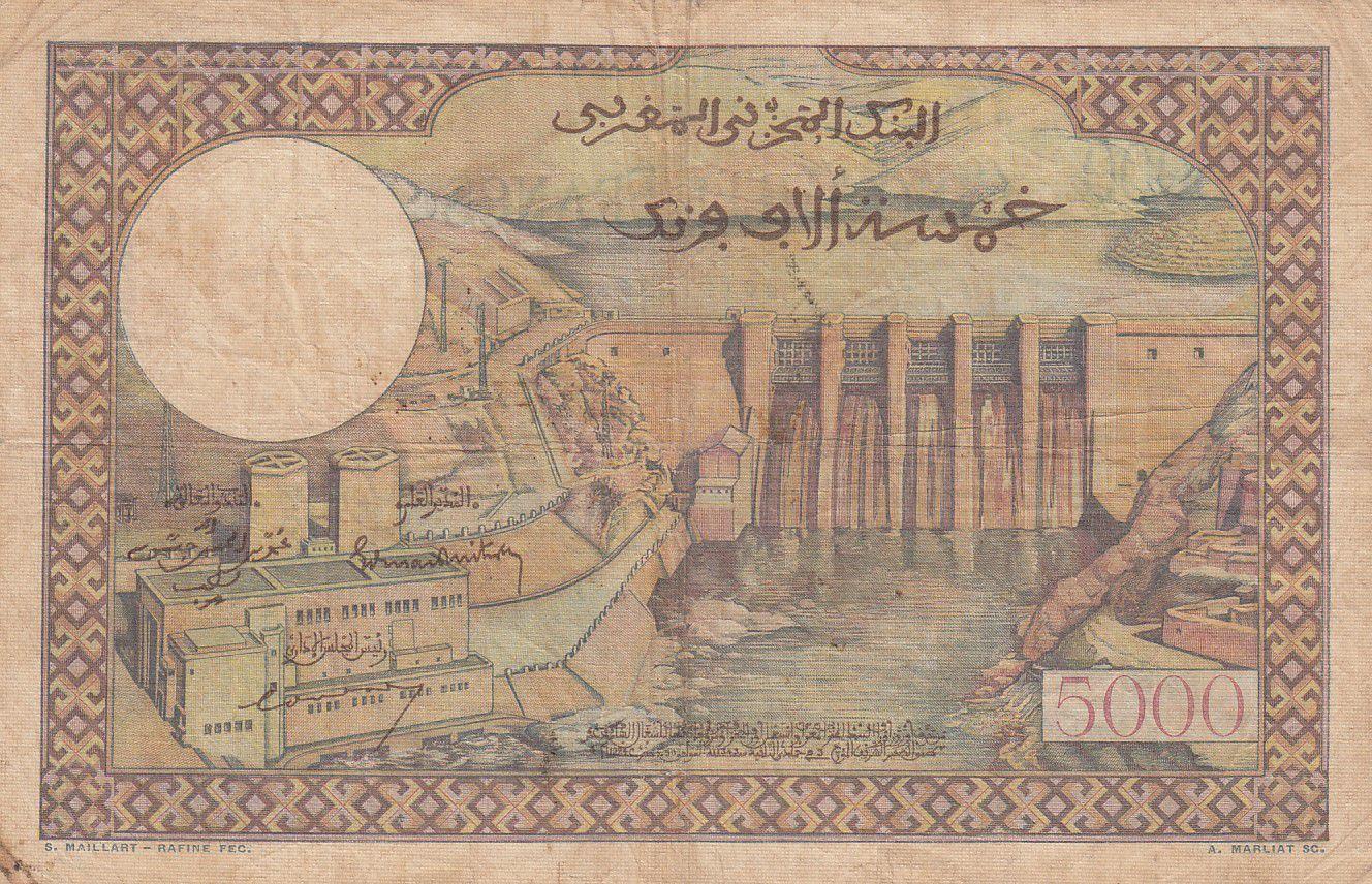 Maroc 5000 Francs Mosquée, barrage  - 02-04-1953 - Série E.77 - TB - P.49