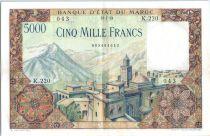 Maroc 5000 Francs Mosquée, barrage  - 1953