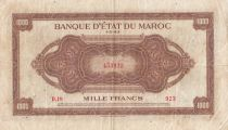 Marruecos 1000 Francs Brown - ABNC - 01-05-1943 - Serial D.19