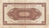 Marruecos 1000 Francs Brown - ABNC - 01-05-1943 - Serial V.31