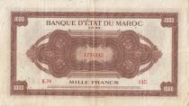 Marruecos 1000 Francs Brown - ABNC - 01-08-1943 - Serial K.70