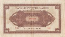 Marruecos 1000 Francs Brown - ABNC - 01-08-1943 - Serial T.111
