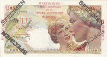 Martinica 1000 Francs France Union - Type 1946 Specimen