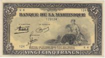 Martinica 25 Francs Woman seated with fruit - 1943 Serial E.6