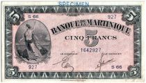 Martinica 5 Francs Liberty - 1942 - Specimen - 1942
