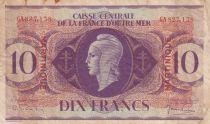 Martinique 10 Francs Marianne L.1944 - Lorraine Cross - Série GA