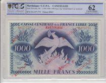 Martinique 1000 Francs Phoenix - 1941 (1944) - PCGS 62 - P.22