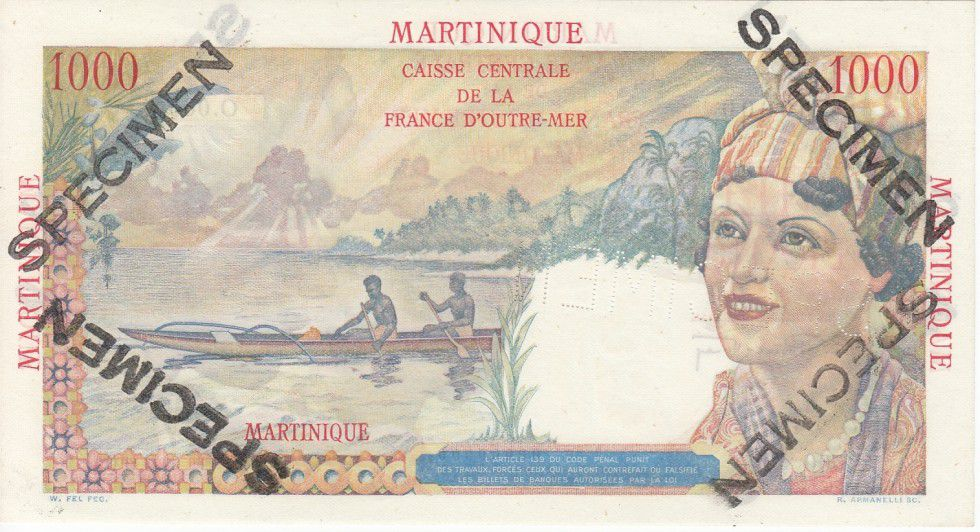 Martinique 1000 Francs Union Française - Type 1946 Spécimen O.000