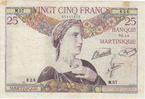 Martinique 25 Francs Buste de femme - Paysage - 1945 Série M.57