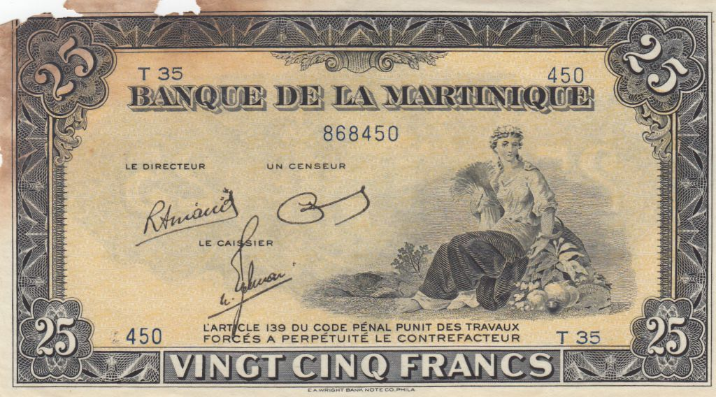 Martinique 25 Francs ND1943 - Agriculture - Série T35