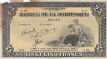 Martinique 25 Francs ND1943 - Woman seated with fruits - Serial T35