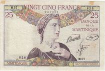 Martinique 25 Francs Woman with wreath - See view - 1945 Serial M.57