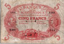 Martinique 5 Francs 2 bust of man and woman - 1901 (1932) Serial X.203