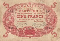 Martinique 5 Francs 2 bust of man and woman - 1903 Serial U.48
