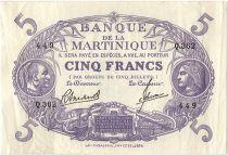 Martinique 5 Francs Cabasson - Purple - 1945 Série Q.362