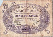 Martinique 5 Francs Cabasson - Purple 1901 (1934) Serial L.315