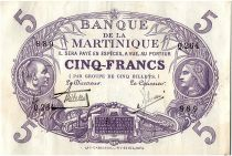 Martinique 5 Francs Cabasson - Purple 1901 (1934) Serial Q.264