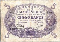 Martinique 5 Francs Cabasson - Purple 1901 (1934) Serial S.263