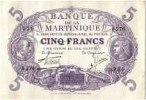 Martinique 5 Francs Cabasson - Purple 1901 (1934) Serial S.270