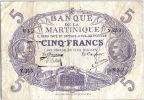 Martinique 5 Francs Cabasson - Purple 1901 (1934) Serial Y.253