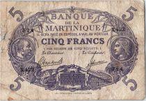 Martinique 5 Francs Cabasson - Purple 1901 (1946) Serial X.422