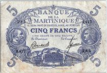 Martinique 5 Francs Cabasson, Bleu - 1901 (1945) Série Z.417