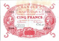 Martinique 5 Francs Cabasson, Rouge - 1901 (1932) Série C.214