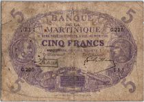 Martinique 5 Francs Cabasson, Violet - 1901 (1932) Série G.220