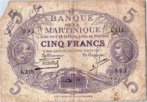 Martinique 5 Francs Cabasson, Violet - 1901 (1934) Série L.315