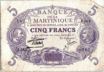 Martinique 5 Francs Cabasson, Violet - 1901 (1934) Série P.263