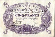 Martinique 5 Francs Cabasson, Violet - 1901 (1934) Série Q.264