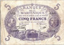 Martinique 5 Francs Cabasson, Violet - 1901 (1934) Série S.263