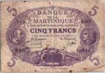 Martinique 5 Francs Cabasson, Violet - 1901 (1934) Série U.277